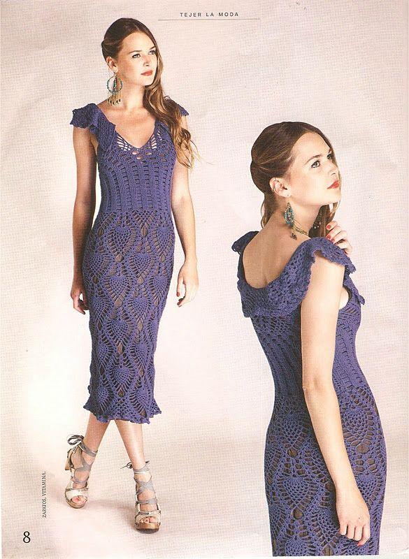 Crochetemoda: Crochet - Vestido Azul Marinho
