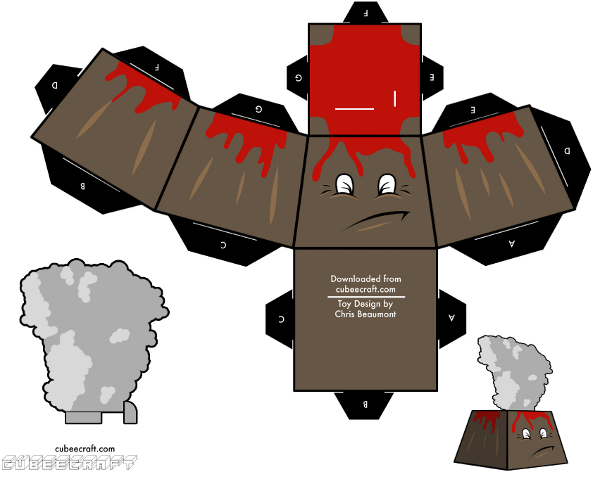 Mu ecos de papel para imprimir recortar y armar volcan for Sillas para armar y recortar