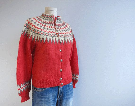 Vintage Nordic Wool Fair Isle Cardigan X2f 1950s Hand Knit Fair Isle Cardigan Fair Isle Sweater Vintage Outfits