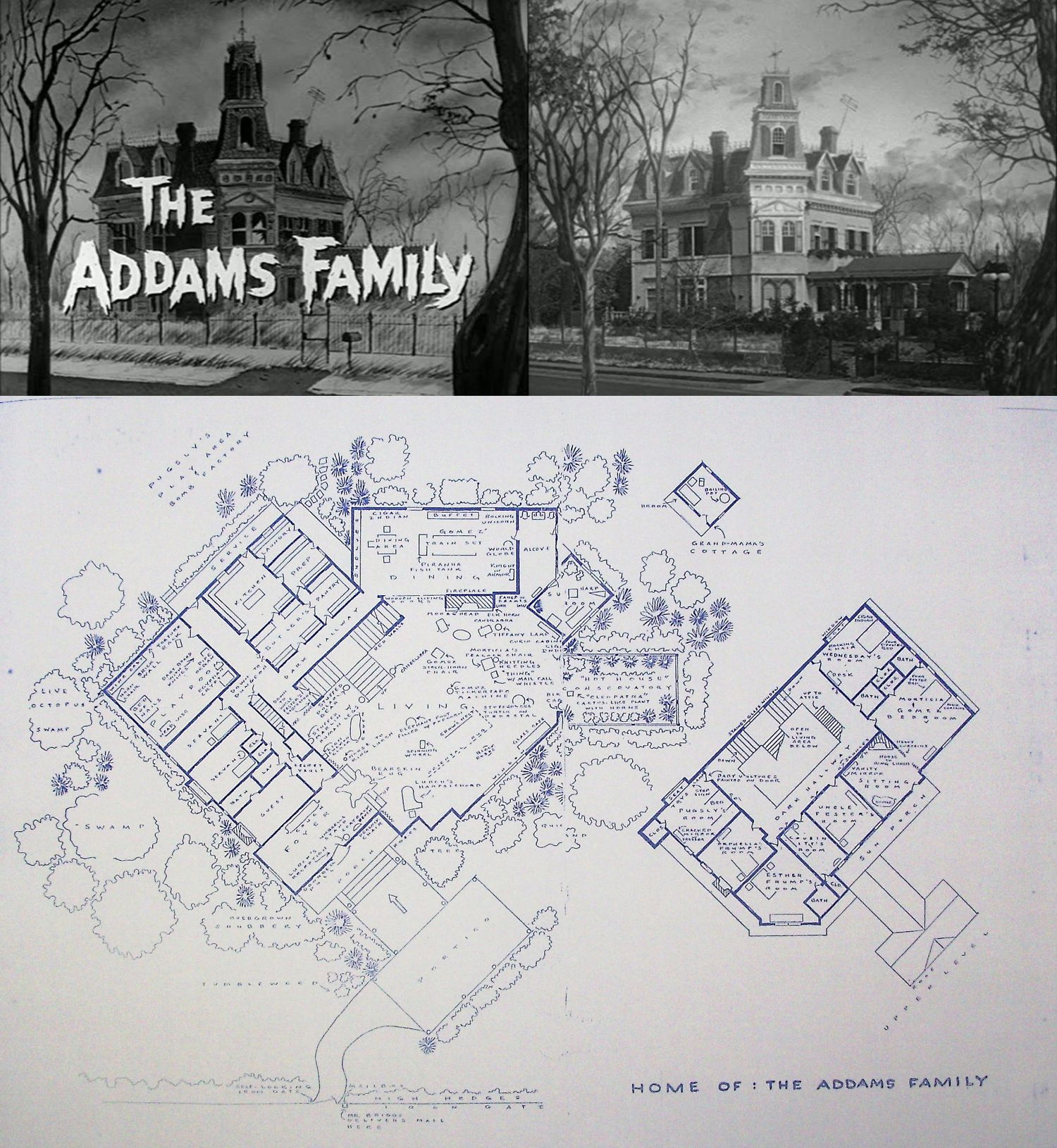 The addams family home at 0001 cemetery lane blueprints floor the addams family home at 0001 cemetery lane blueprints floor plan malvernweather Image collections
