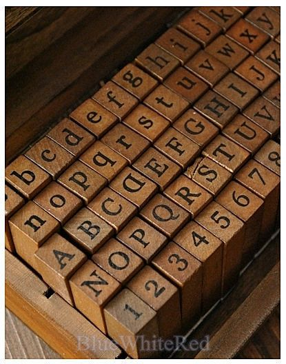 Rubber Stamps 70 pcs Capital and small letters by BlueWhiteRed, $15.50