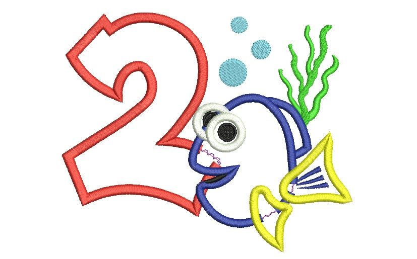 Boy   Birthday Embroidery Design With Dory Fish
