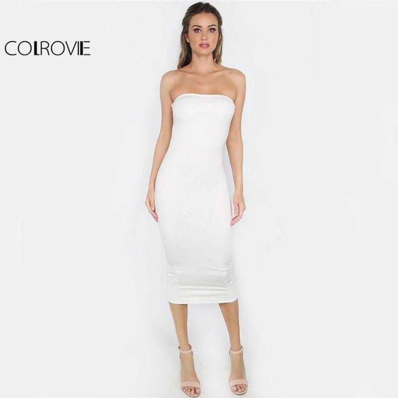 a279b593dc6 Aliexpress.com   Buy COLROVIE Bandeau Sheath White Basic Dress Sexy Girls  2017 Club Women Strapless Summer Dresses Elegant Slim Bodycon Party Dress  from ...