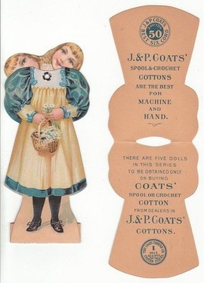 Die cut doll trade card for J&P Coats' spool and crochet cotton (thread). [4868 (10/20/2013)