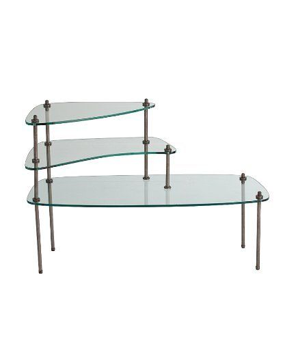 """Arteriors Vigo Iron/Glass Side Table by Arteriors. $935.00. H:27.5"""" W:40.5"""" D:16"""". The three free-form tiers of the Vigo Iron and Glass Side Table supply a perfect place for displaying a collection, arranging coffee-table books, or serving canapes. Inspired by the practical but eye-opening designs of turn-of-the-century German design schools, the transitional table communicates a somewhat industrial effect in the hardware that secures its straight legs and shelf..."""
