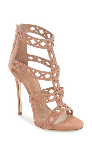 Giuseppe Zanotti Geometric Cage Sandal - A laser-cut cage sandal crafted in Italy from lush suede features a sky-high heel that furthers the sensual appeal.