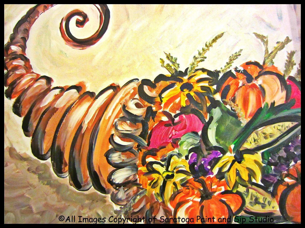 FUNKY CORNUCOPIA at Saratoga Paint & Sip Studio | The Paintings ...