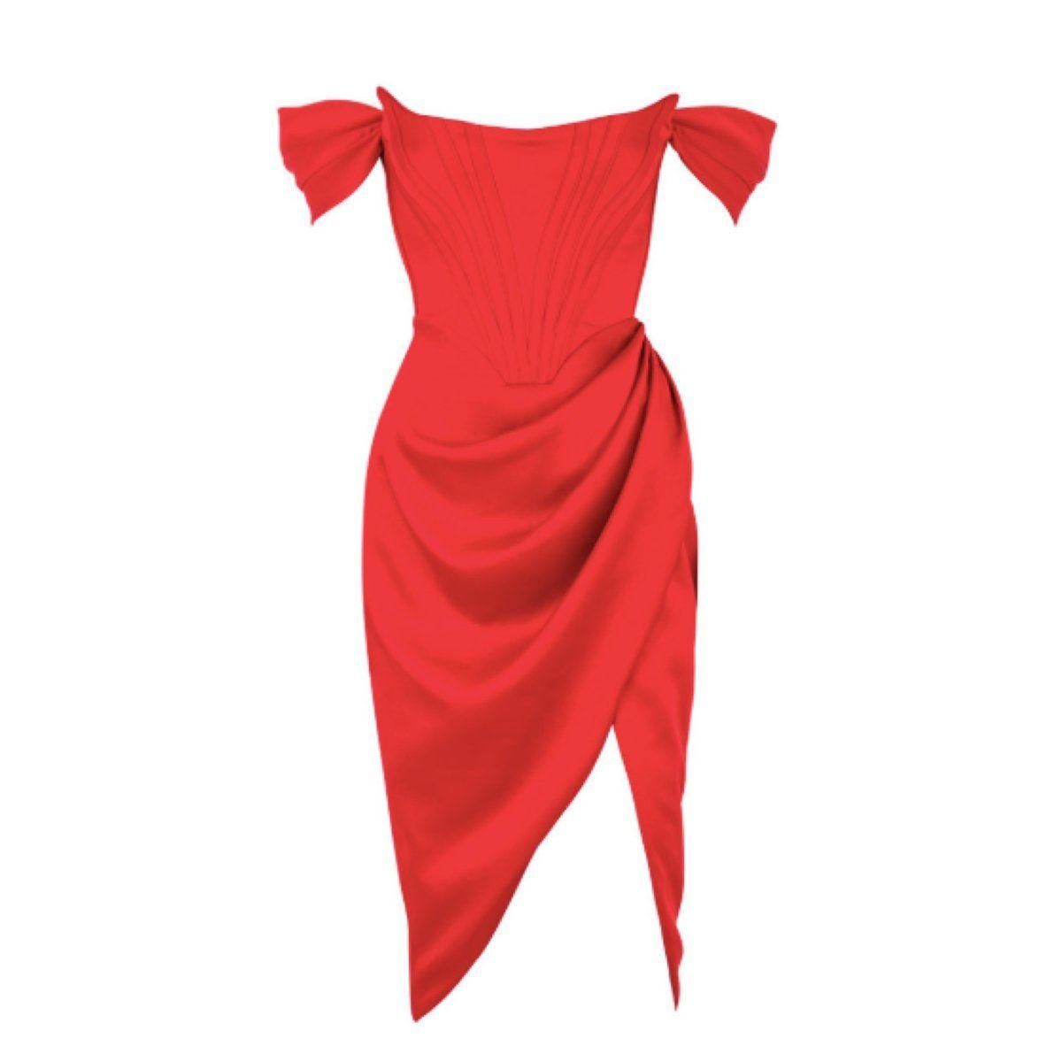 Red Off The Shoulder Corset Midi Dress In 2021 Corset Midi Dress Red Midi Dress High Low Lace Dress [ 1200 x 1200 Pixel ]