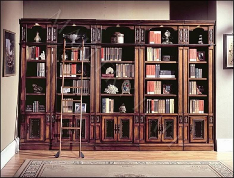 Italian Chestnut Extra Large Library Bookcase Ladder