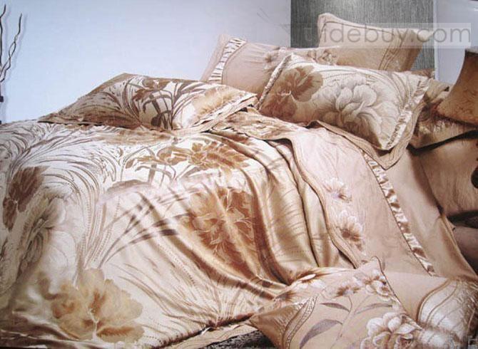 pur luxueux ensembles de literie 4 pi ces housse de couette en soie jacquard livraison gratuite. Black Bedroom Furniture Sets. Home Design Ideas