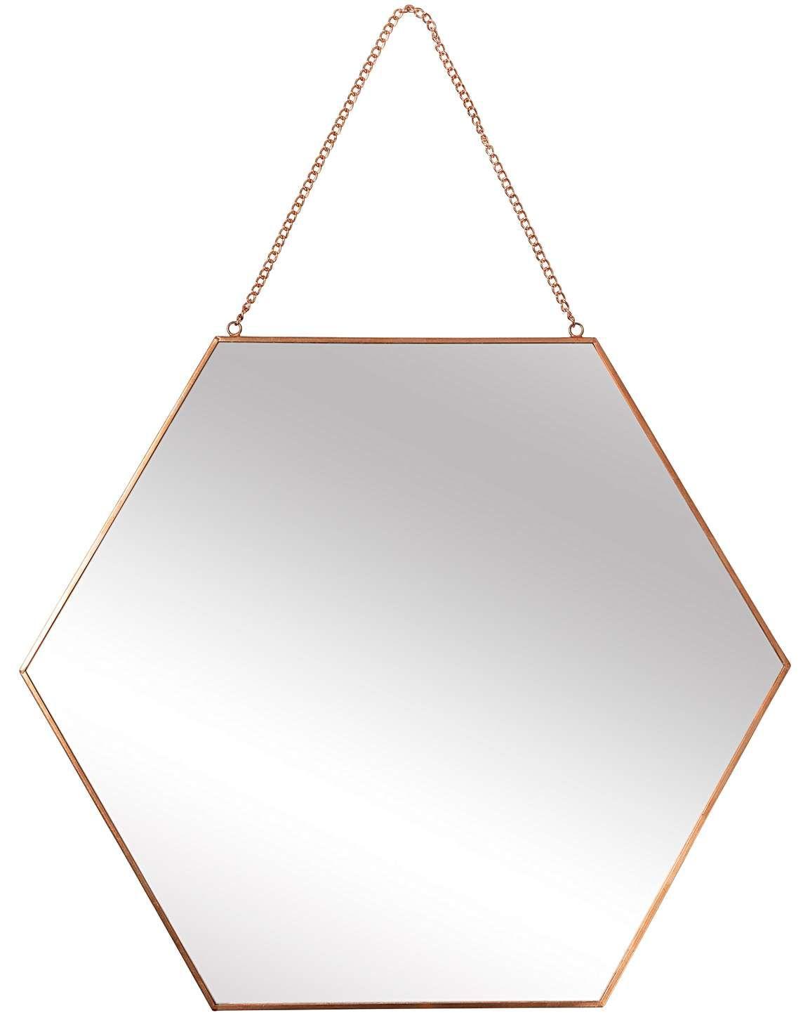 Rose Gold Hexagon Hanging Wall Mirror Large Mirror Rose Gold Gold