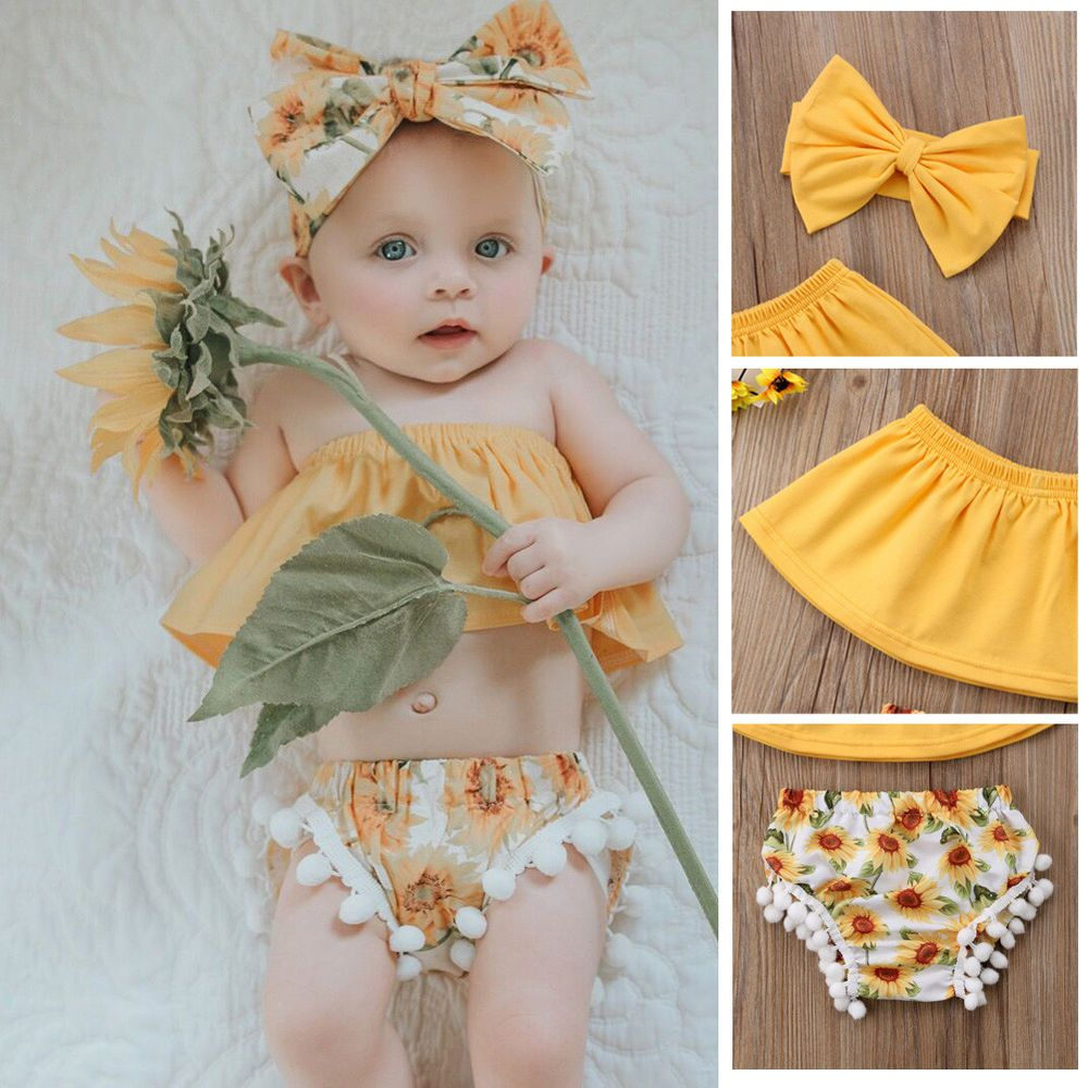 Baby Newborn Girls Romper Tops Jumpsuit Tutu Pants Headband Outfits Clothes Set