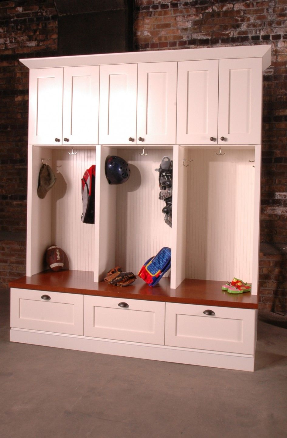 Furniture Awesome White Wooden Mudroom Lockers With Opened Clothing Hanger And Drawers As Storage Triple Pair Doors At Top For Inspiring
