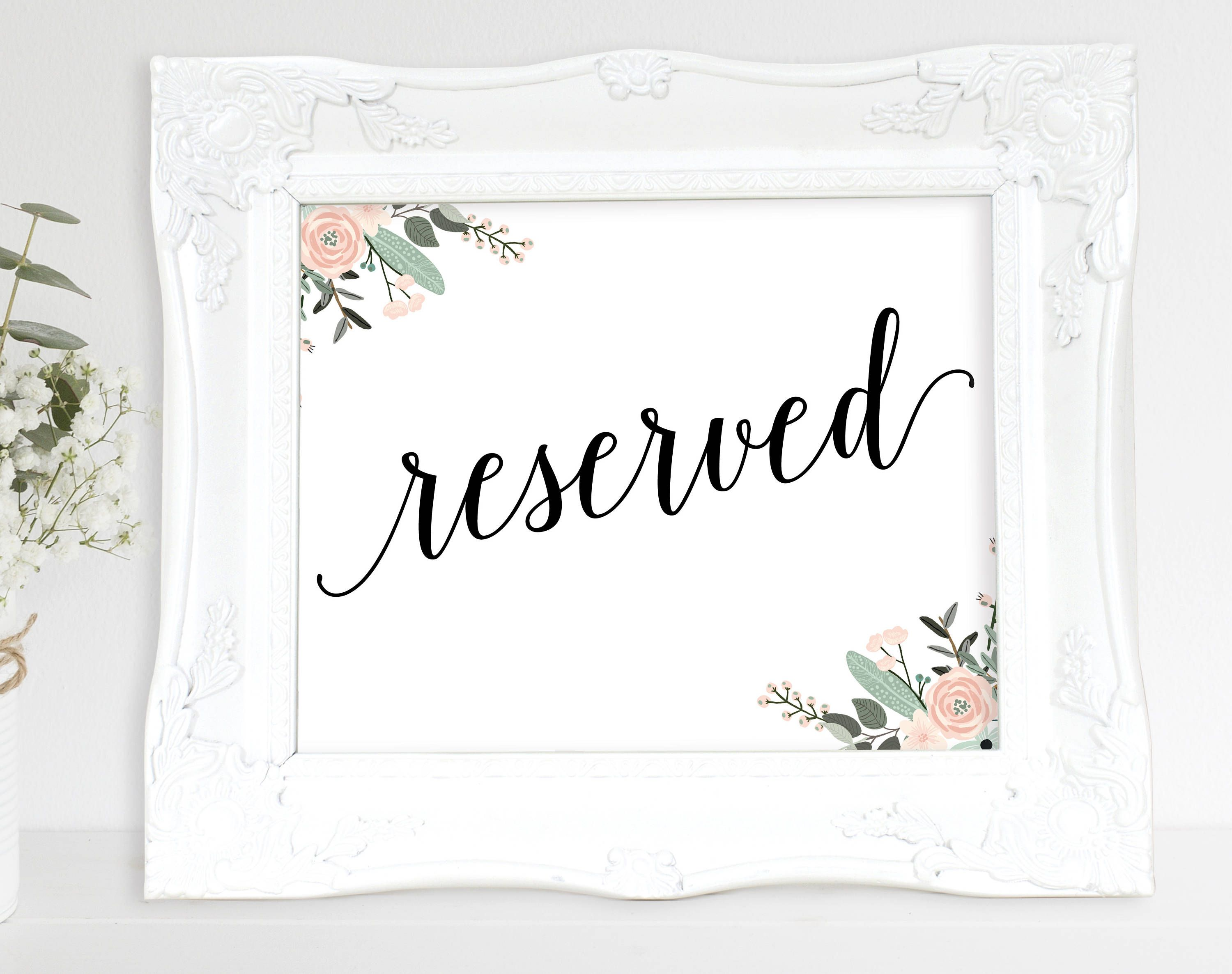 Floral reserved sign template reserve tables in style