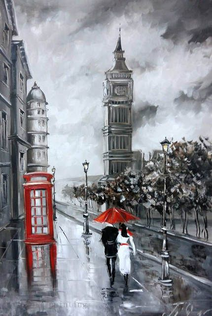 US $44.37 50% OFF|Top Artist Handpainting Streetscape Black and White Knife Oil Painting on Canvas Handmade the Couple with Red Umbrella in Rain|knife oil painting|oil paintingthe paintings - AliExpress