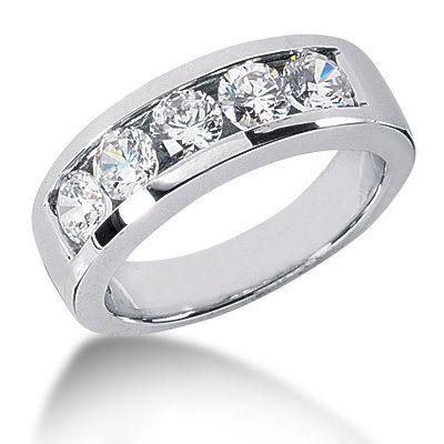 Platinum Round Diamond Mens Wedding Ring 2ct 5 Stone Ring