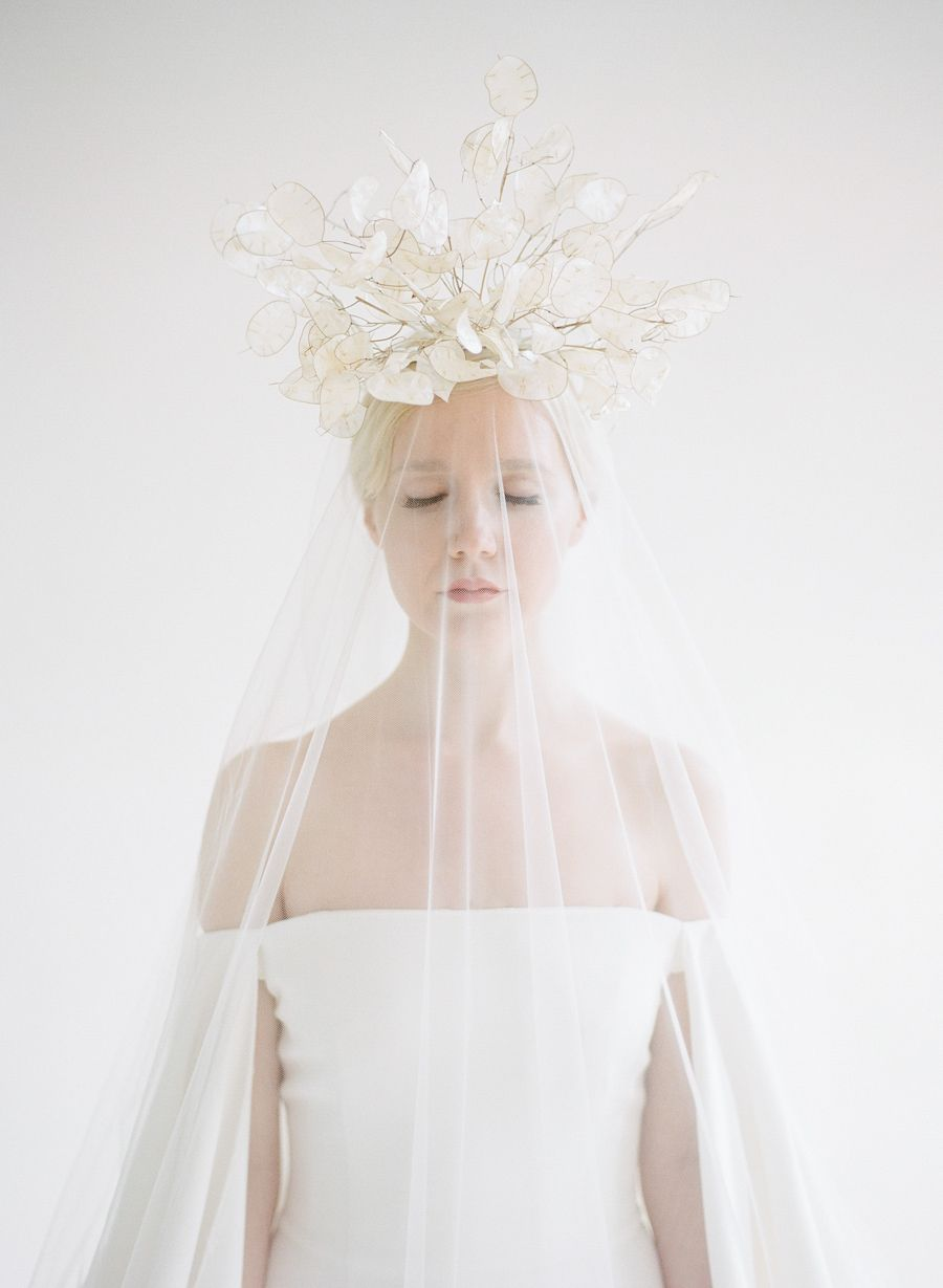 This modern wedding inspiration is white hot floral crown snow