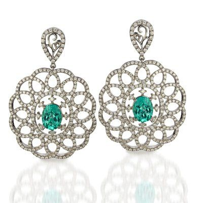 Paraiba Tourmaline and Diamond Earrings available at Houston Jewelry!