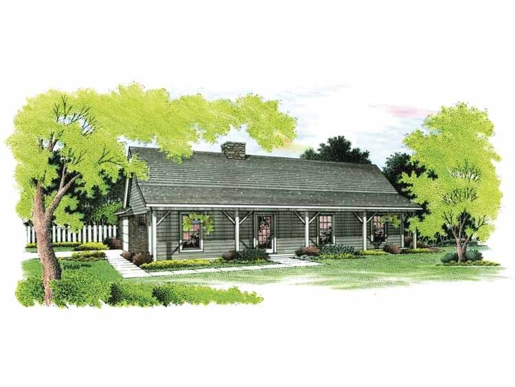 Home Plan HOMEPW03588 - 1191 Square Foot, 3 Bedroom 2 Bathroom + Farmhouse Home with 2 Garage Bays | Homeplans.com