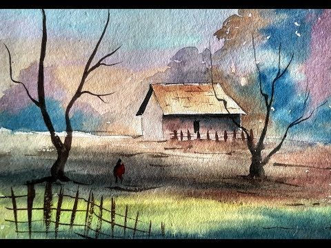 Simple Watercolor Landscape Painting For Beginners Youtube