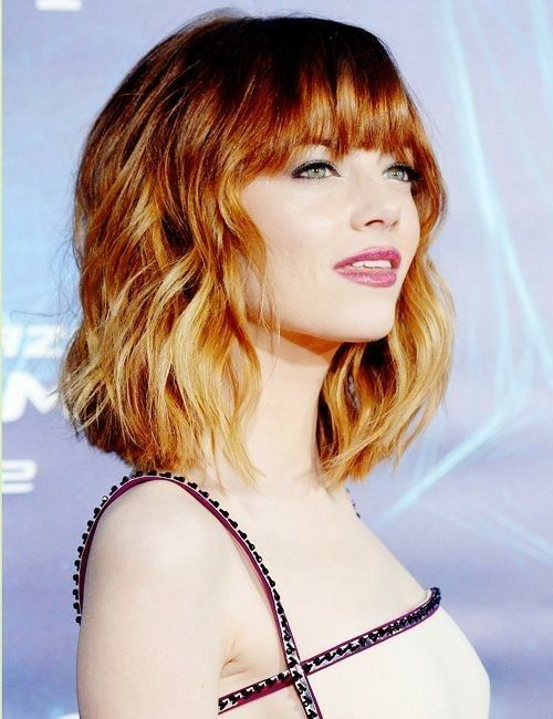 Ginger Lob With Bangs Emma Stone Emma Stone Hair Lob With Bangs