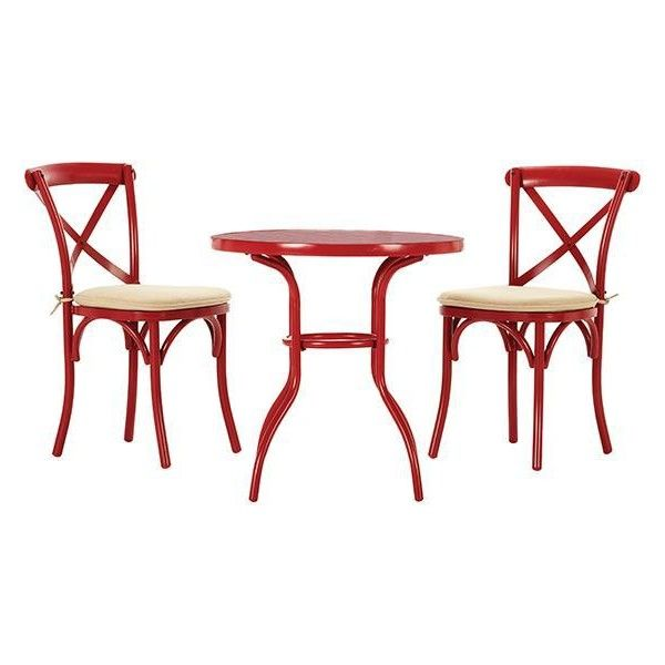Home Decorators Collection Petit Red Cafe Patio Bistro Set With Beige   The  Home Depot
