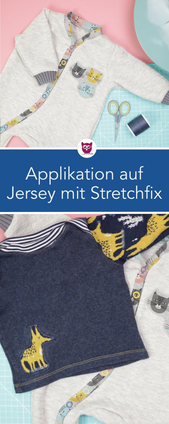 Applikation auf Jersey mit Stretchfix Applikationen