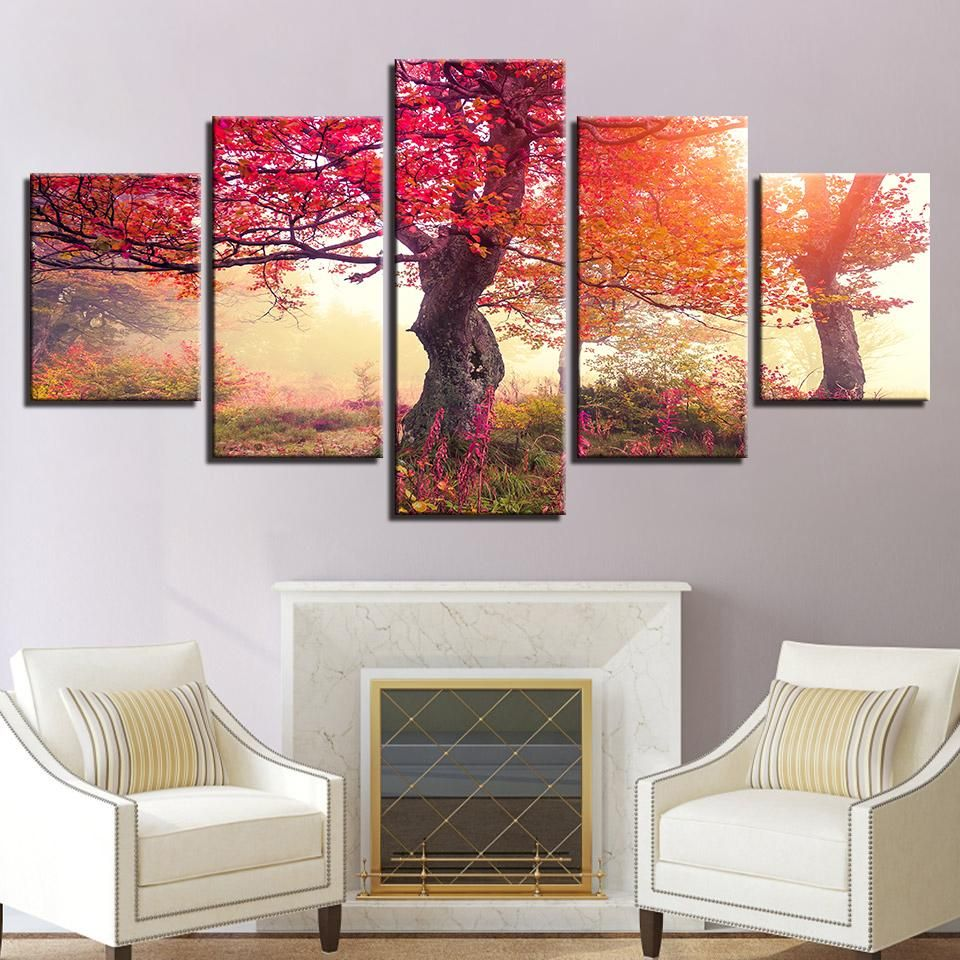 SUNRISE RED FOREST LANDSCAPE WALL ART CANVAS PRINT PICTURE FREE DELIVERY