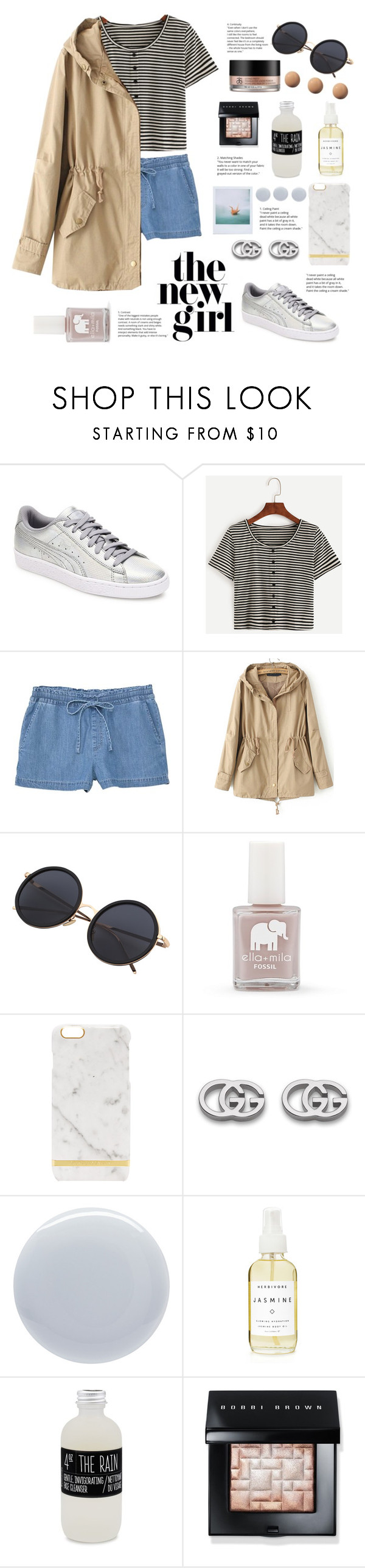 """Newbie"" by belleshines ❤ liked on Polyvore featuring Puma, MANGO, FOSSIL, Gucci, Polaroid, Deborah Lippmann, A Weathered Penny, Belmondo, CC and Bobbi Brown Cosmetics"