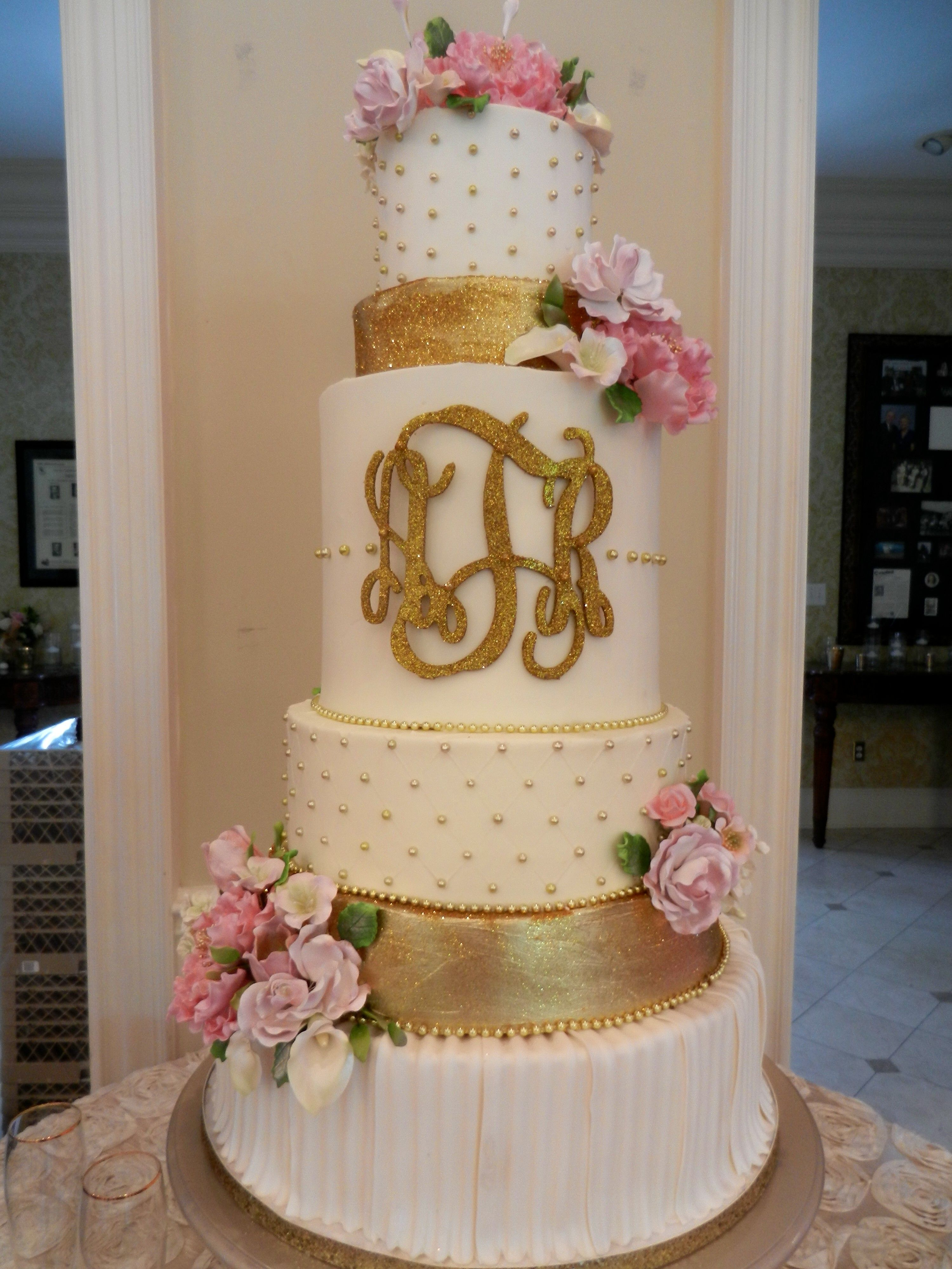 Gold Monogram Wedding Cake Www.cheesecakeetc.biz Wedding Cakes Charlotte NC
