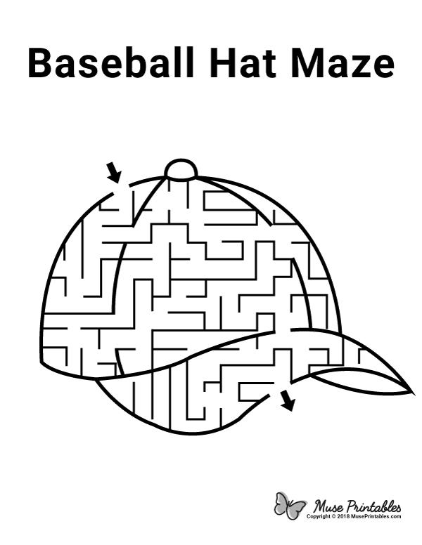 Free printable baseball hat maze. Download it at https