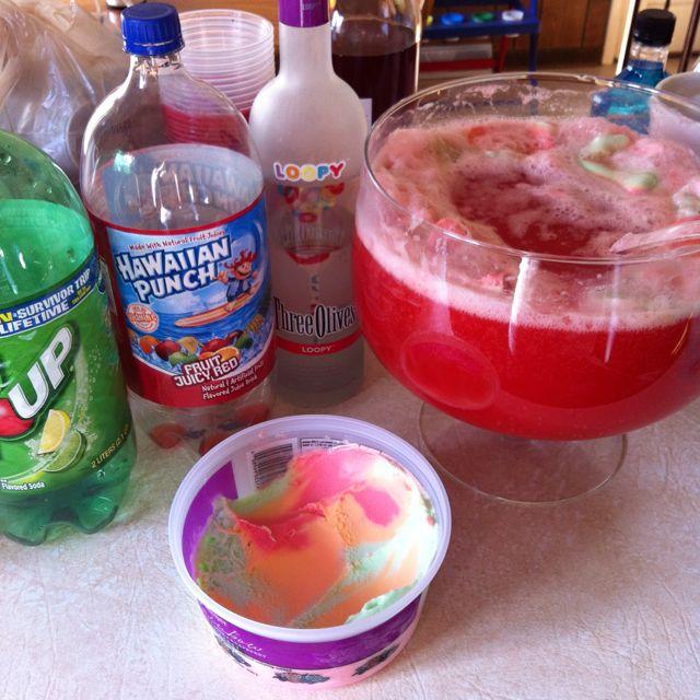 Ice Cream Vodka Drink 7up, Rainbow Shurbert, Hawiian Punch