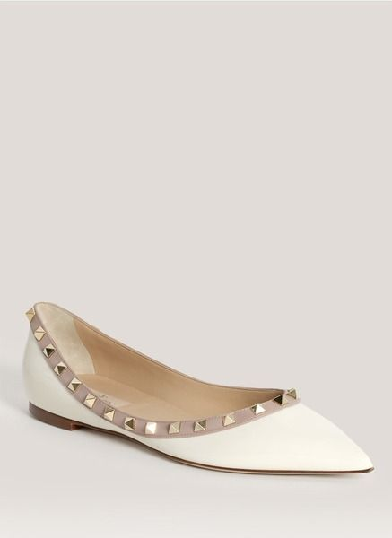 bb1628316140 Valentino White Studded Pointed Toe Flats