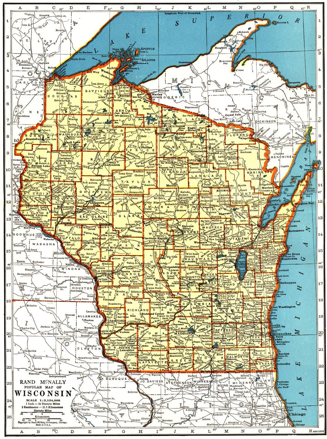 1944 Rand McNally Map of Wisconsin from the Wisconsin Digital Ibrary