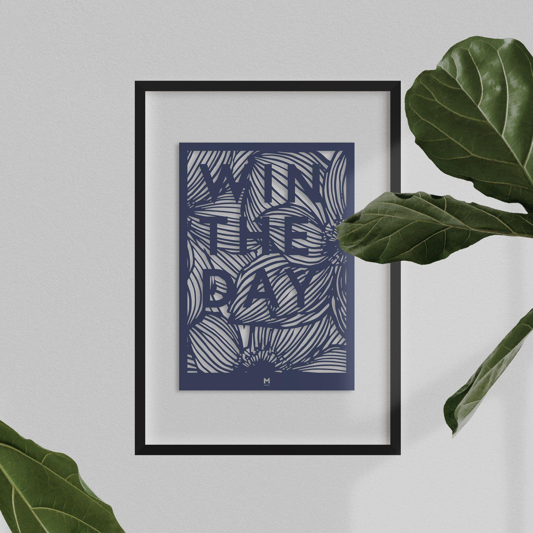 Photo of Win The Day Paper Cut Wall Art – Dark Blue