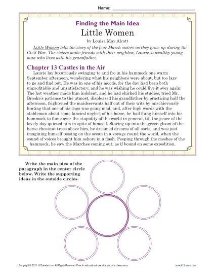 Middle School Main Idea Worksheet About The Book, Little Women ...