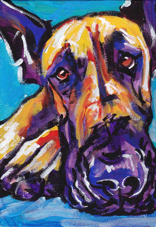 Great Dane Art Print Pop Dog Bright Colors By BentNotBroken 1199 Via Etsy