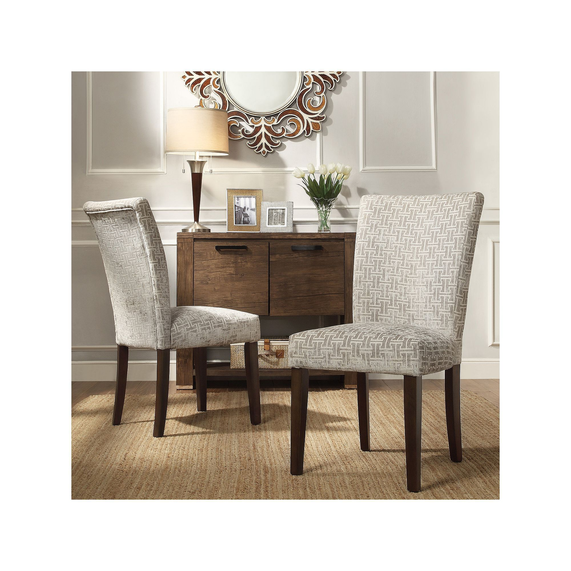 Homevance Denargo Printed Side Chair 2 Piece Set Grey