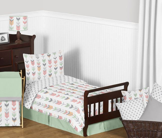 Mod Arrow Grey Coral And Mint Toddler Bedding Set Toddler Bed Comforter Bedding Sets Arrow Bedding