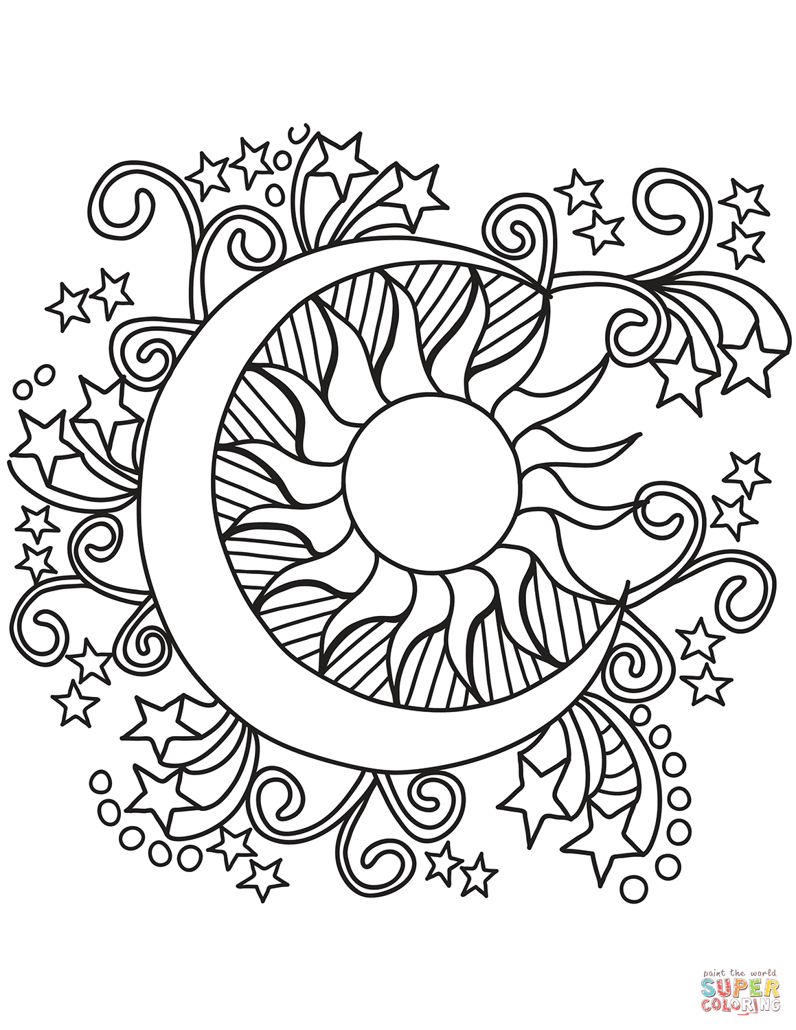 Pop Art Sun, Moon, and Stars coloring page  Free Printable