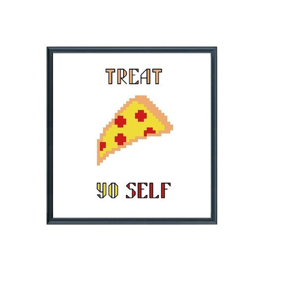 Treat yo self ice cream pizza funny cross stitch by MagicWeDo