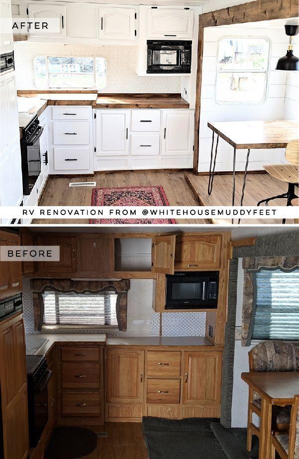 Modern Farmhouse RV Tour featuring @WhiteHouseMuddyFeet on MountainModernLife.com #rvreno #rvtour #campermakeover #rvrenovation #rvinspiration #tinyhome #modernfarmhouse #fifthwheel #camper