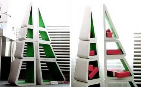 Whether You Celebrate Christmas Or Not, These Clever Tree Shaped Bookshelves  Would Look Great