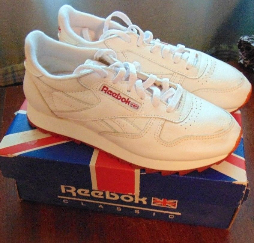 67388c1e337 Vintage NEW Snazzy Reebok Classic Leather Ripple Sneaker Schwarz White   Red  NEW