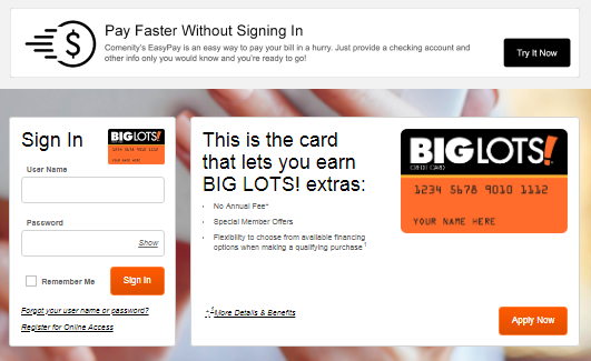 Big Lots Financing >> You Can Make Your Big Lots Credit Card Payment Online Via