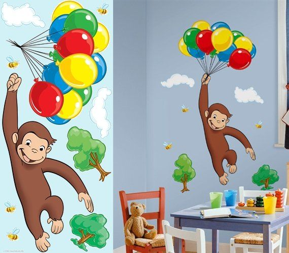 Curious George Giant Wall Mural - Wall Sticker Outlet | Bathroom ...