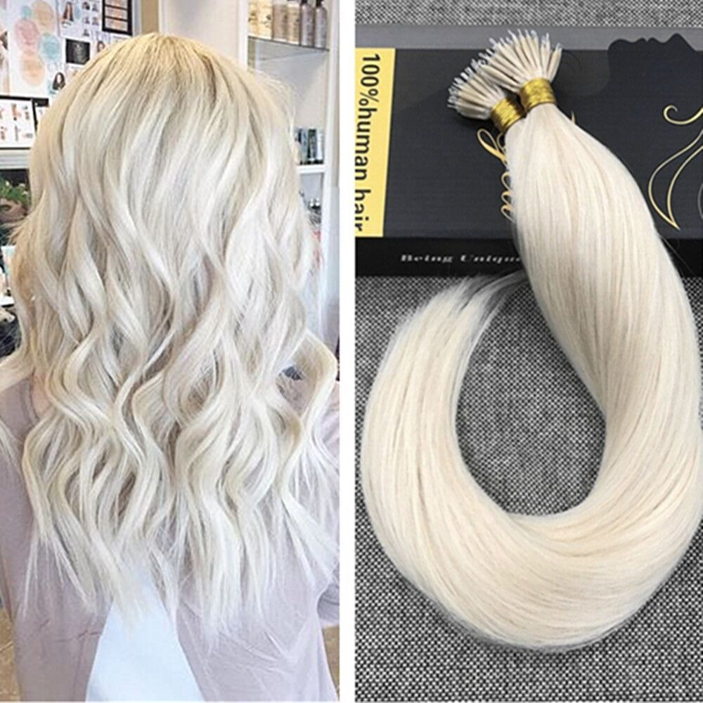 Nano Ring Solid Color Plantinum Blonde Remy Human Hair Extensions
