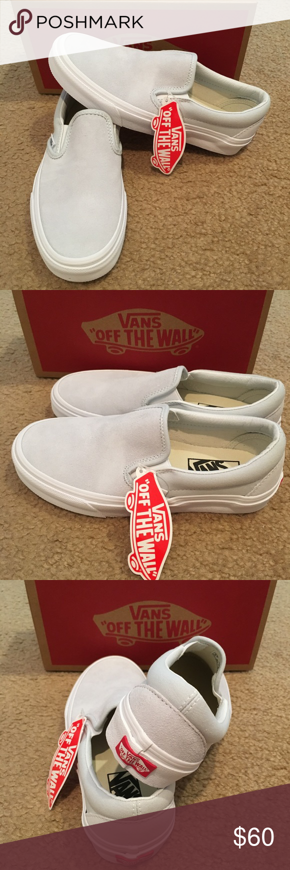 fb5b929cce0 Suede Canvas Classic Slip On Vans New in box. Illusion blue true white Vans  Shoes Sneakers