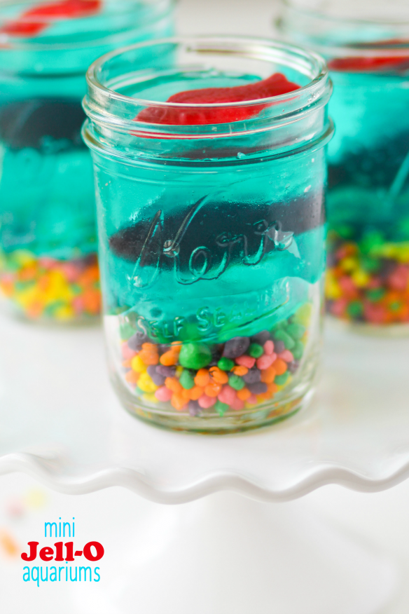 Pool Party : These Mini Jell-O Aquariums are the perfect treat to put together with your kids! Great idea for pool parties