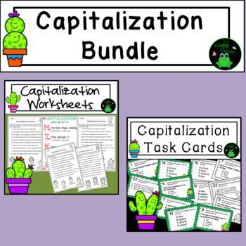 Capitalization Practice Bundle - Worksheets and Task Cards